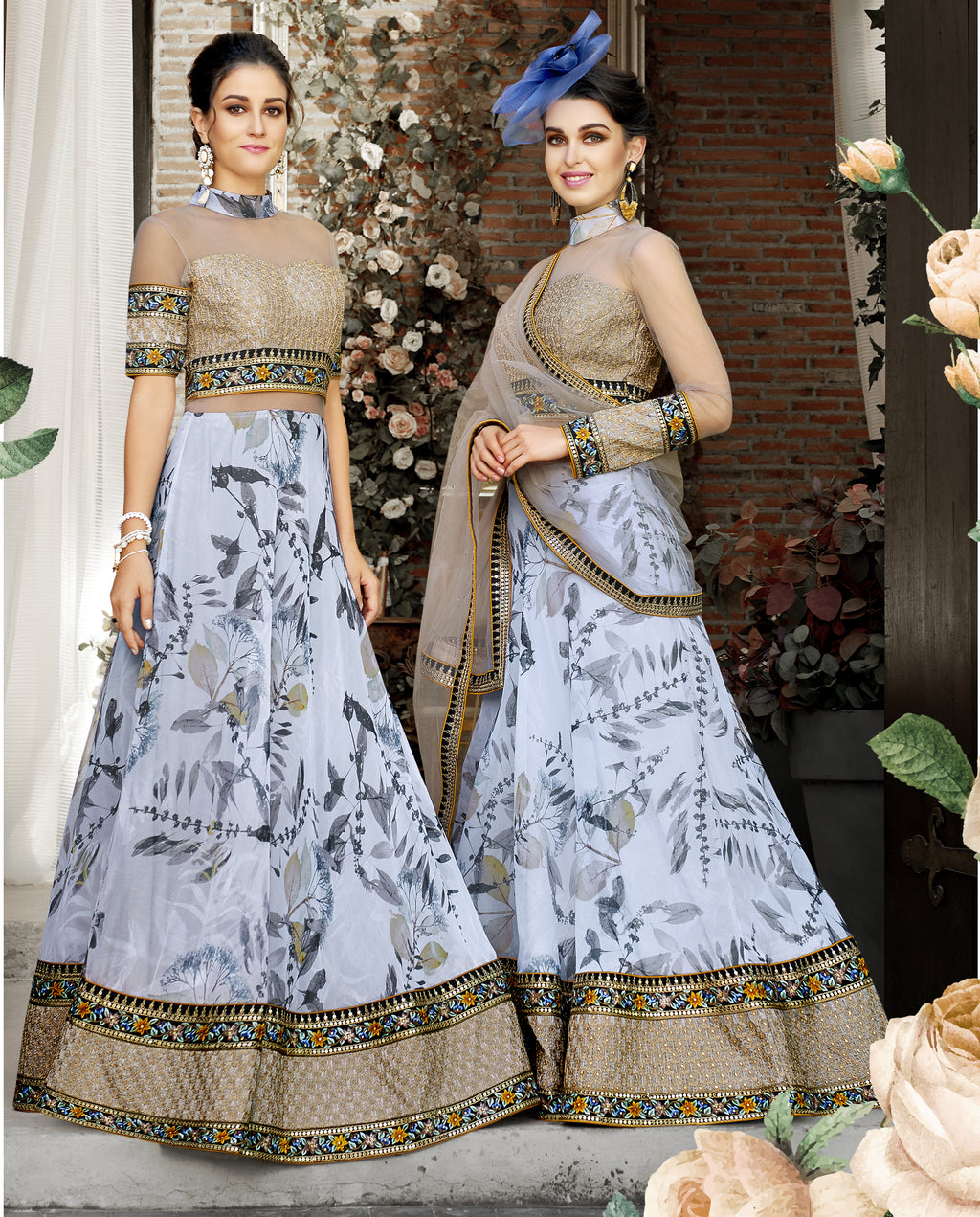 Bluish Grey Floral Print Organza Silk Beautiful Party Lehenga Dresses Online India