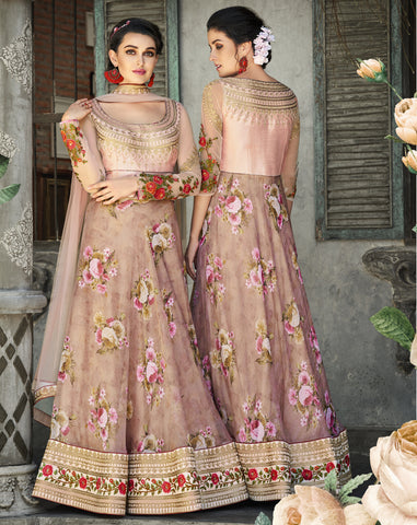 Onion Pink Floral Print Organza Silk Lehenga Wedding Dresses Indian Lehenga