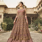 Dusty Rose Net Embroidered Best Online Shopping Sites For Anarkali Suits