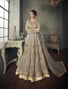 Grey Net Long Anarkali Salwar Qameez Indian Suits Online