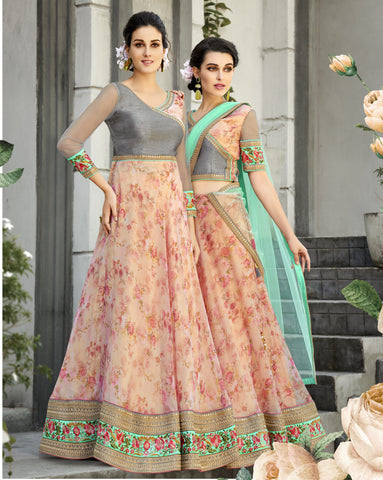 Peach Floral Print Organza Silk Latest Wedding Lehenga Choli Online