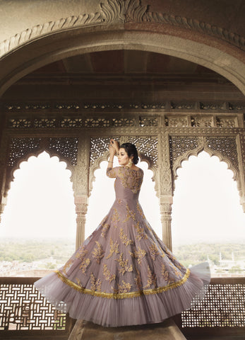 Lilac Net Embroidered Anarkali Gown Indian Wedding Salwar Kameez