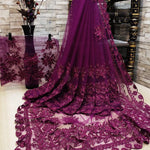 Parineeti Chopra Wine Color Net Embroidered Party Saree Online