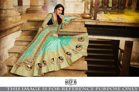 Sea Green Paper Silk Embroidery Designs For Cholis For Lehenga
