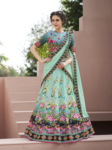 Light Sea Green Digital Print New Latest Lehenga Designs Online