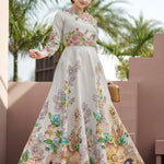 Grey Silk  Digital Floral Print Party Wear Lehengas Shop Online
