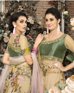 Beige Floral Print Organza Silk Latest Designer Lehengas For Wedding