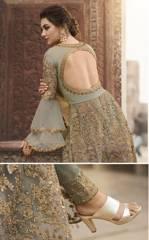 Sage Green Net Embroidered Indian Party Wear Latest Designer Suits For Indian Dresses