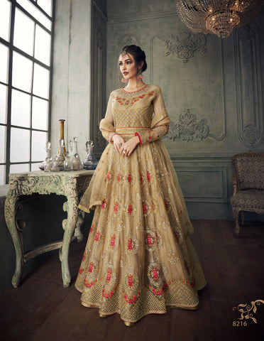 Beige Net Embroidered Long Anarkali Shalwar Qameez Designs