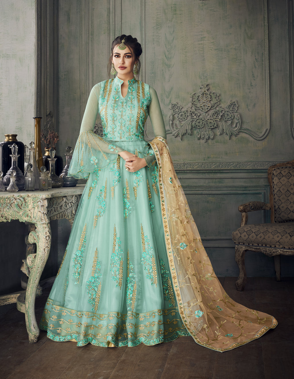 Light Sea Green Net Embroidered Anarkali Women Salwar Suits