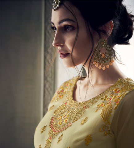 Cream Net Long Anarkali Buying Salwar Kameez Online