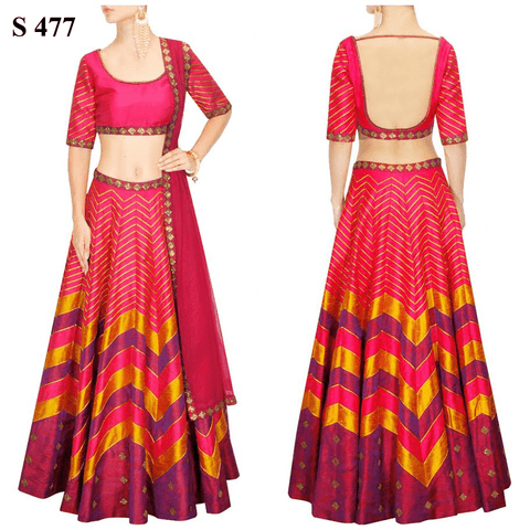 Pink Stripe Sequins Work Printed Bollywood Lenghas ,Indian Dresses - 1