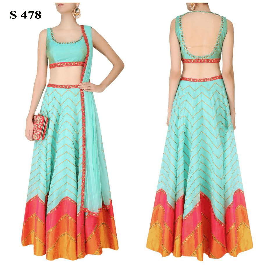 Mint Green Zigzag Print Silk Lehengas For Sale ,Indian Dresses - 1