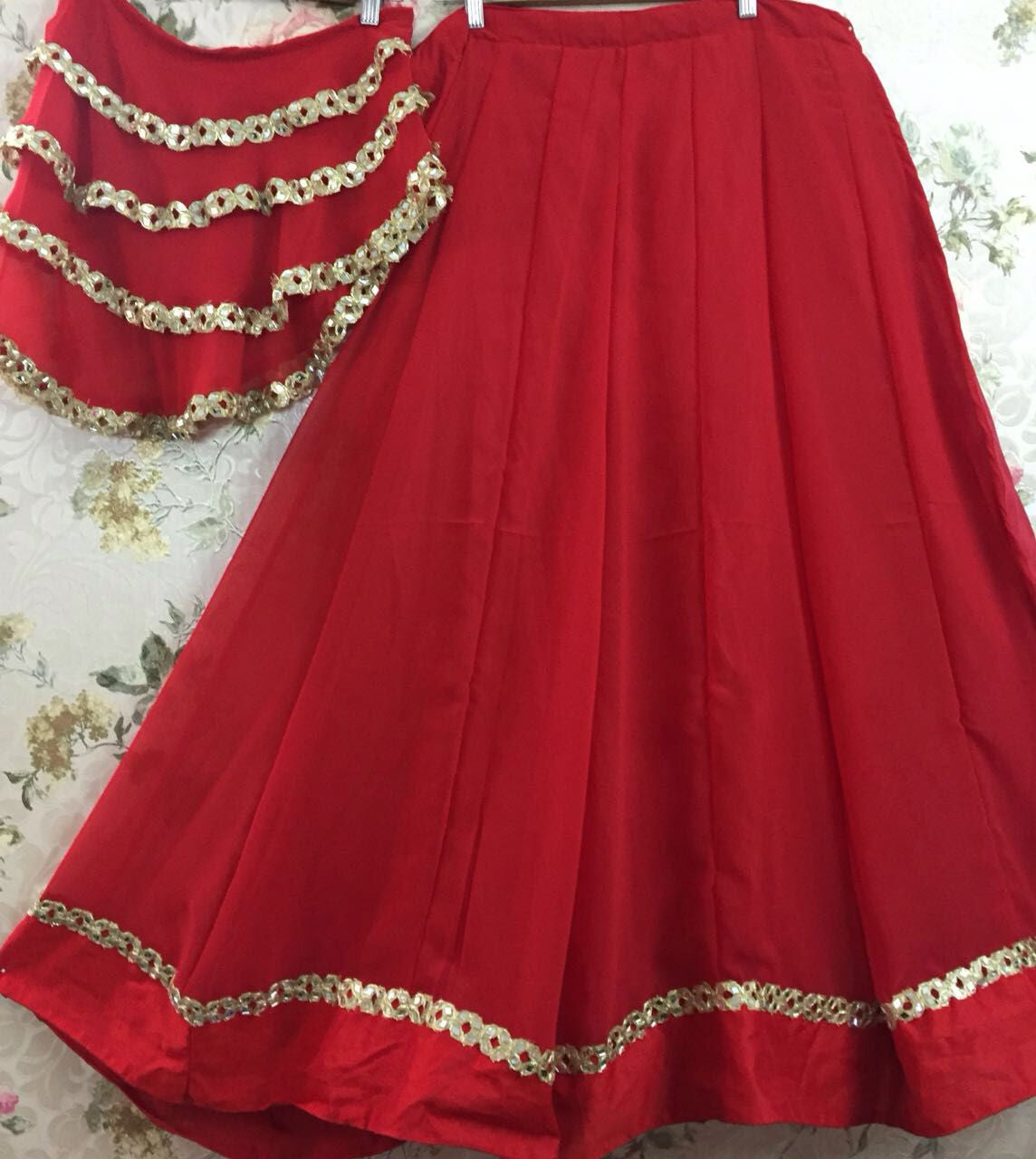 Red One Shoulder Cape Lehenga Choli Designer ,Indian Dresses - 2