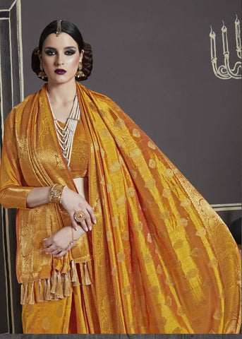 Mustard Yellow Nylon Silk Rich Tassel Work Traditional Silk Sarees