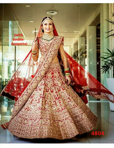 Red  Mulberry Silk Traditional Bridal Lehenga Choli Online India