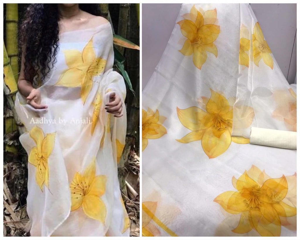 White and Yellow Digital Printed Latest Organza Saree and Blouse Set