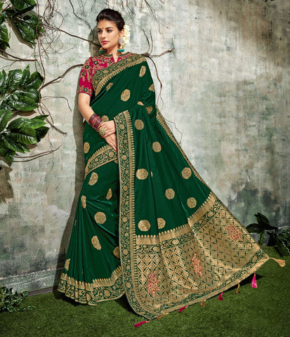 Dark Green Silk Party Wear Beautiful Designer Sarees Online Shopping