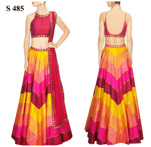 Pink And Yellow Stripe Sequins Work Indian Lengha Online ,Indian Dresses - 1