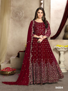 Maroon Embroidered Long Anarkali Ladies Fancy Suits Design