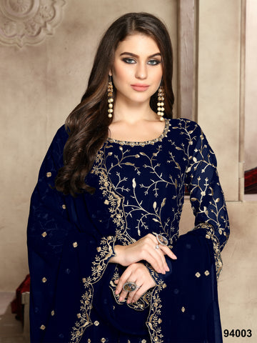 Fancy Navy Blue Unstitched Long Anarkali Suits Online Shopping