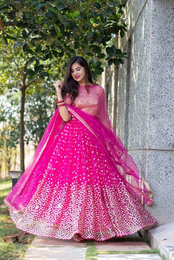 Pink Net Sequins Work New Party Lehenga Choli In India