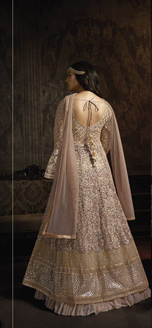 Dusty Pink Embroidered Net Abaya Style Online Shopping Anarkali Dresses