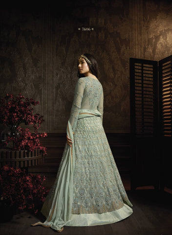 Dusty Green Net Embroidered Anarkali Indian Dresses Salwar Suits