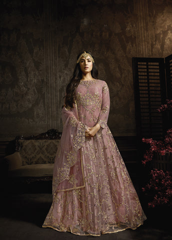 Pink Net Embroidered Beautiful Anarkali Suits Online Shopping