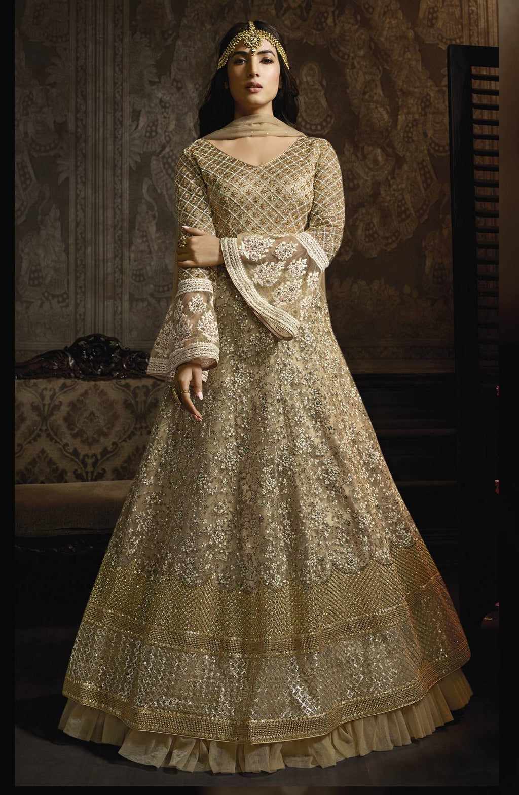 Beige Net Anarkali Salwar Beautiful Indian Designer Suits