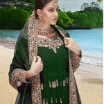 Green Embroidered Georgette Anarkali Churidar Shop Online