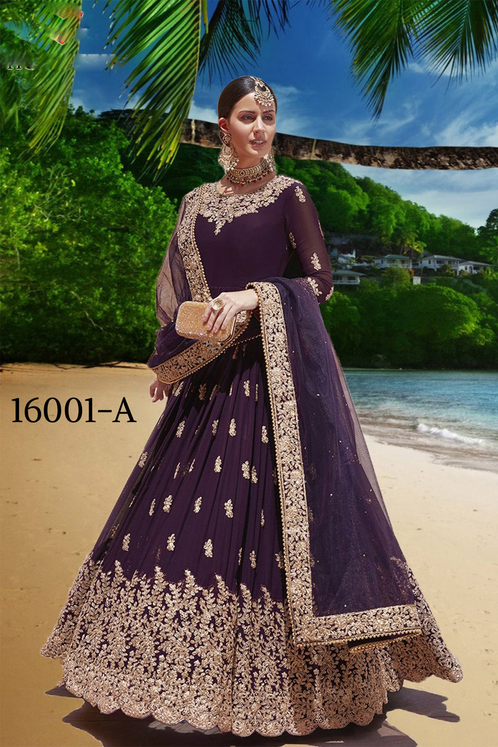 Dark Wine Embroidered Georgette Indian Long Salwar Kameez