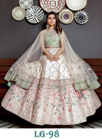 Off White Embroidered Banglori Satin Lehengas For Marriage Wear