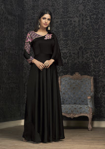 Black Embroidered Satin Georgette Online Gown Dress In India