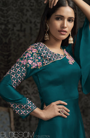 Teal Embroidered Satin Georgette Party Wear Gown Online