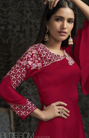 Red Satin Georgette Embroidered New Fashion Indian Gown
