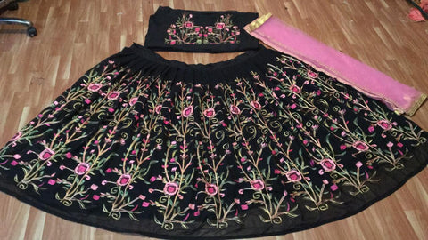 Black Georgette Flower Embroidered Latest Indian Party Wear Lehenga