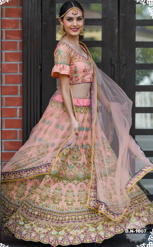 Light Peach Embroidered Silk Wedding Ghagra Choli Online Shopping