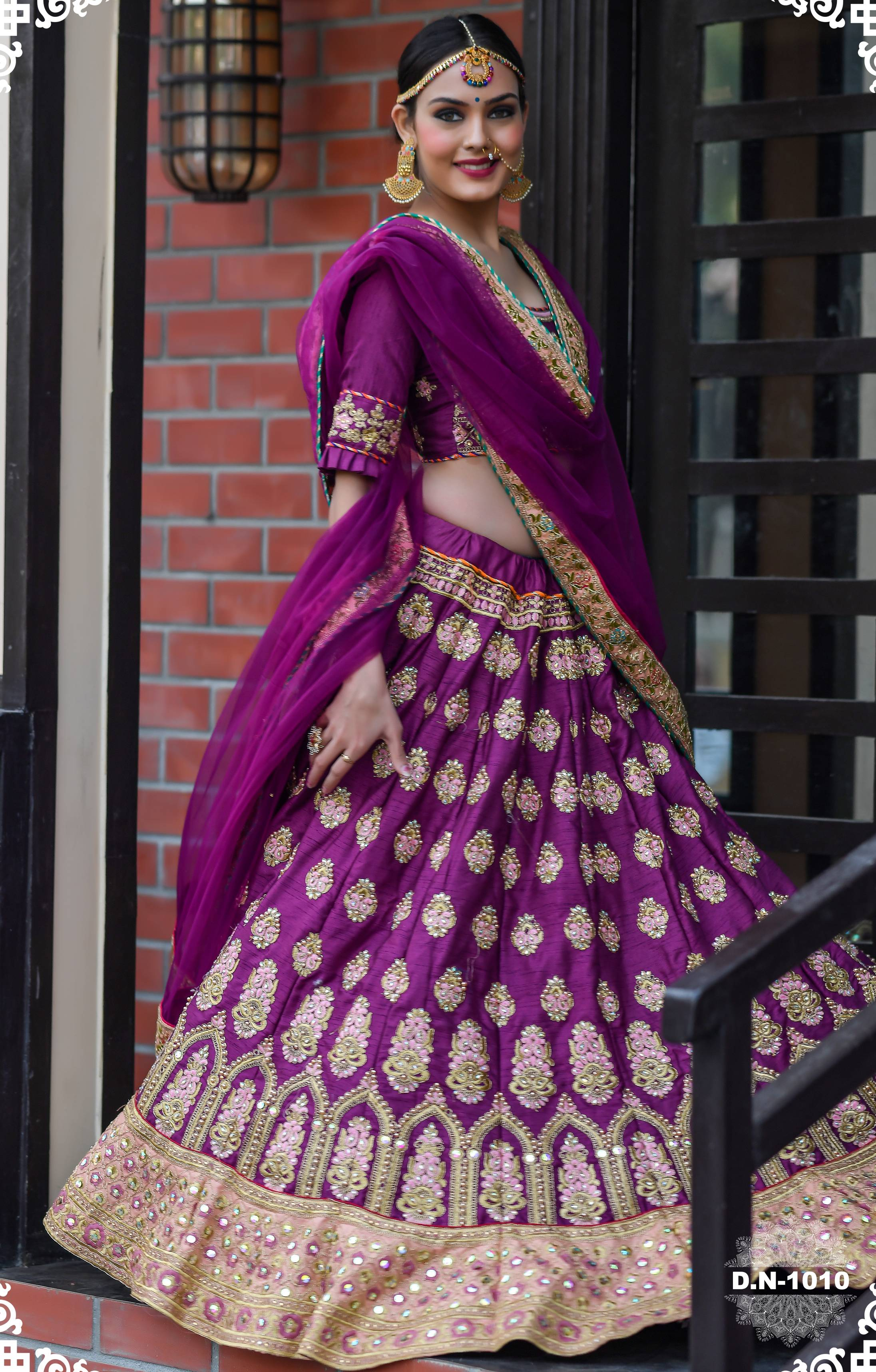 Purple Embroidered Silk Party Wear Lehenga Choli Online Shopping