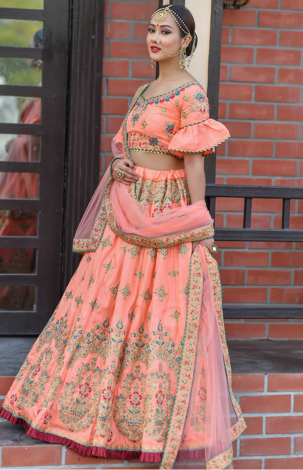 Peach Chennai Silk Embroidered Party Lehenga Designs With Price