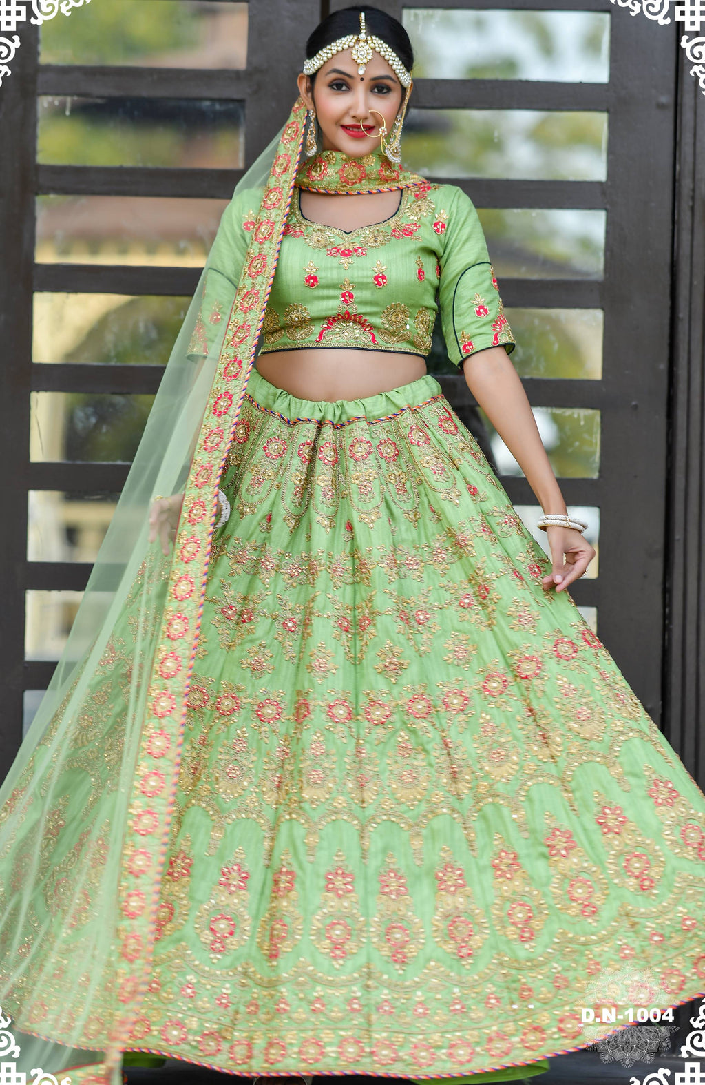 Pista Green Chennai Silk Embroidered Latest Lehenga Designs For Wedding