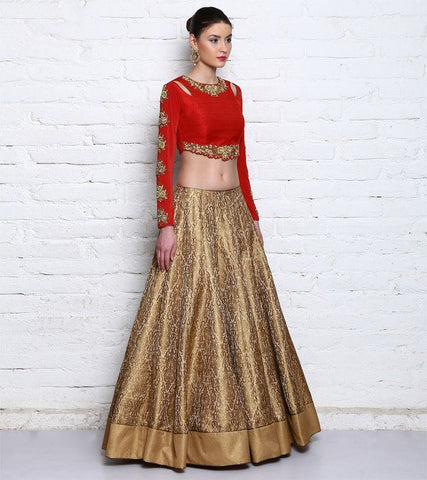 Beige Red Embroidery Wedding Lehenga Choli Online