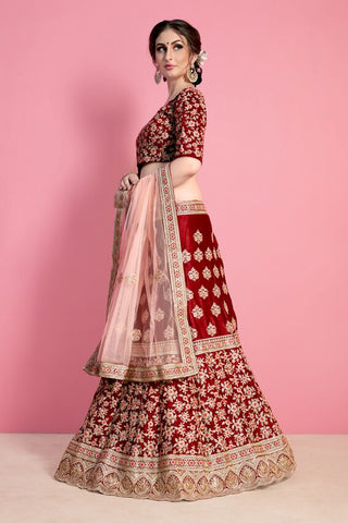 Maroon Velvet Silk Indian Wedding Bollywood Ghagra Choli Online