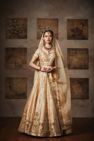 Cream Chennai Silk Bollywood Latest Lehenga Choli Collection