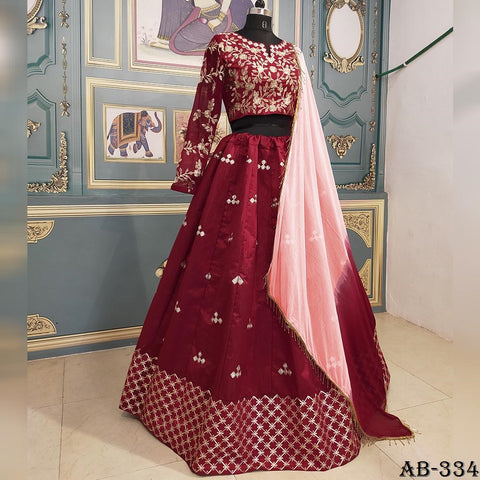 Maroon Silk Embroidered Party Wear Ghagra Choli Dress Designs