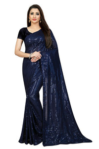 Navy Blue Georgette Sequins Fashion Designs Sarees Online Shopping