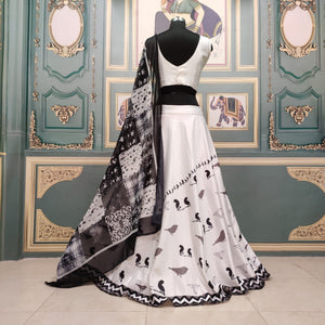 White Digital Print Silk Lehenga Choli With Price Online