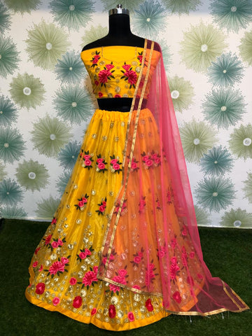 Yellow Net Embroidered Latest Trend In Indian Lehenga Blouse
