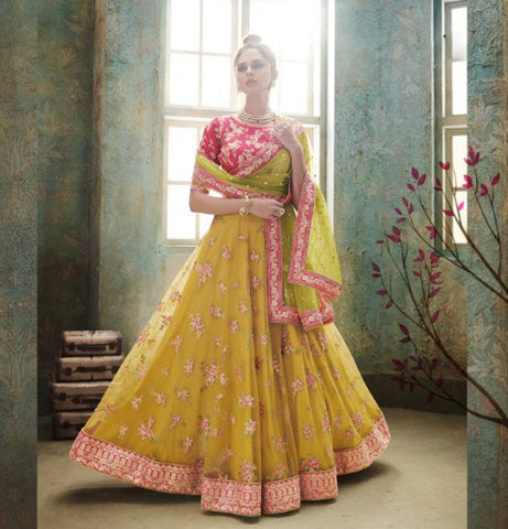 Yellow Net Party Wear Ghagra Dress With Price Online Shopping