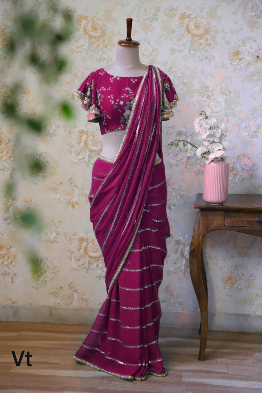 Wine Color Sequin Work Georgette Fancy Saree Online Shopping